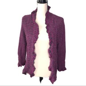 NIC + ZOE Silk Blend Cardigan Fuchsia/Dark Gray L